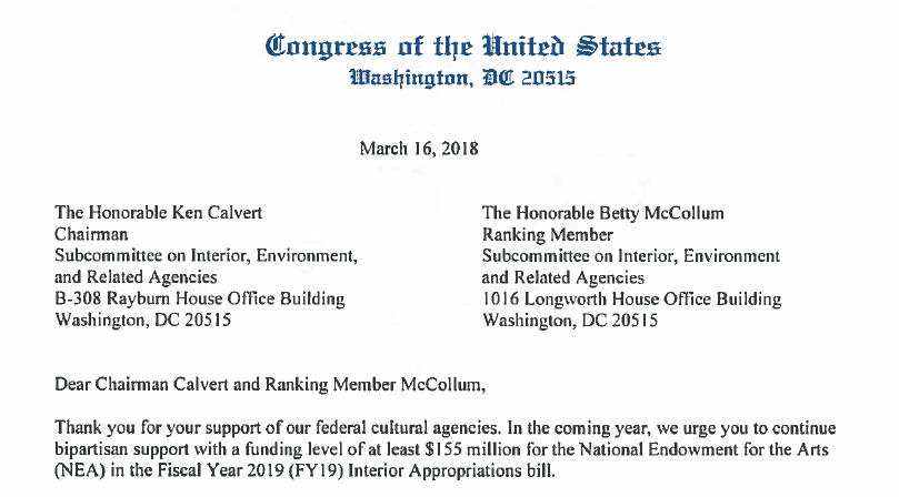 House Dear Colleague Letter In Support Of Federal Funding For The