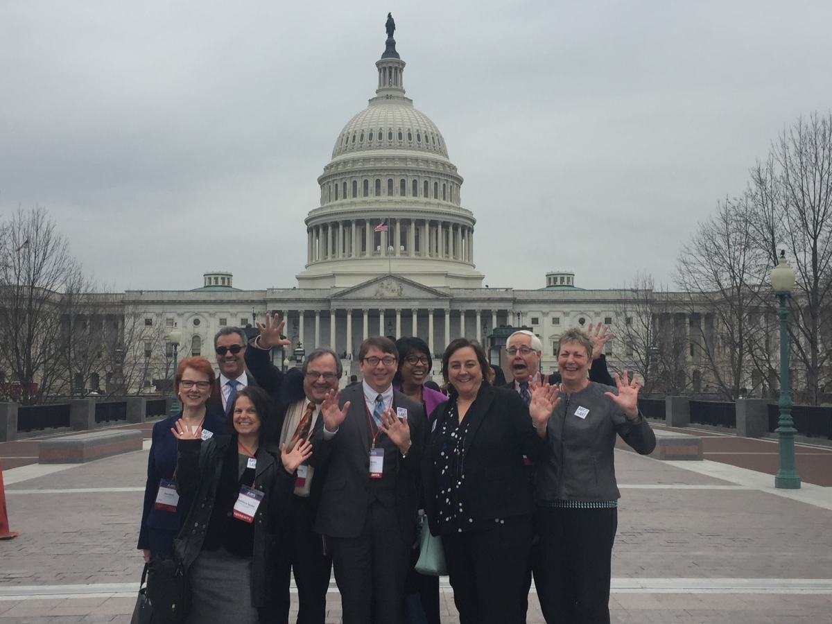 The Minnesota delegation, led by state captain Sheila Smith, Executive Director of Minnesota Citizens for the Arts, on their way to appointments on Capitol Hill.