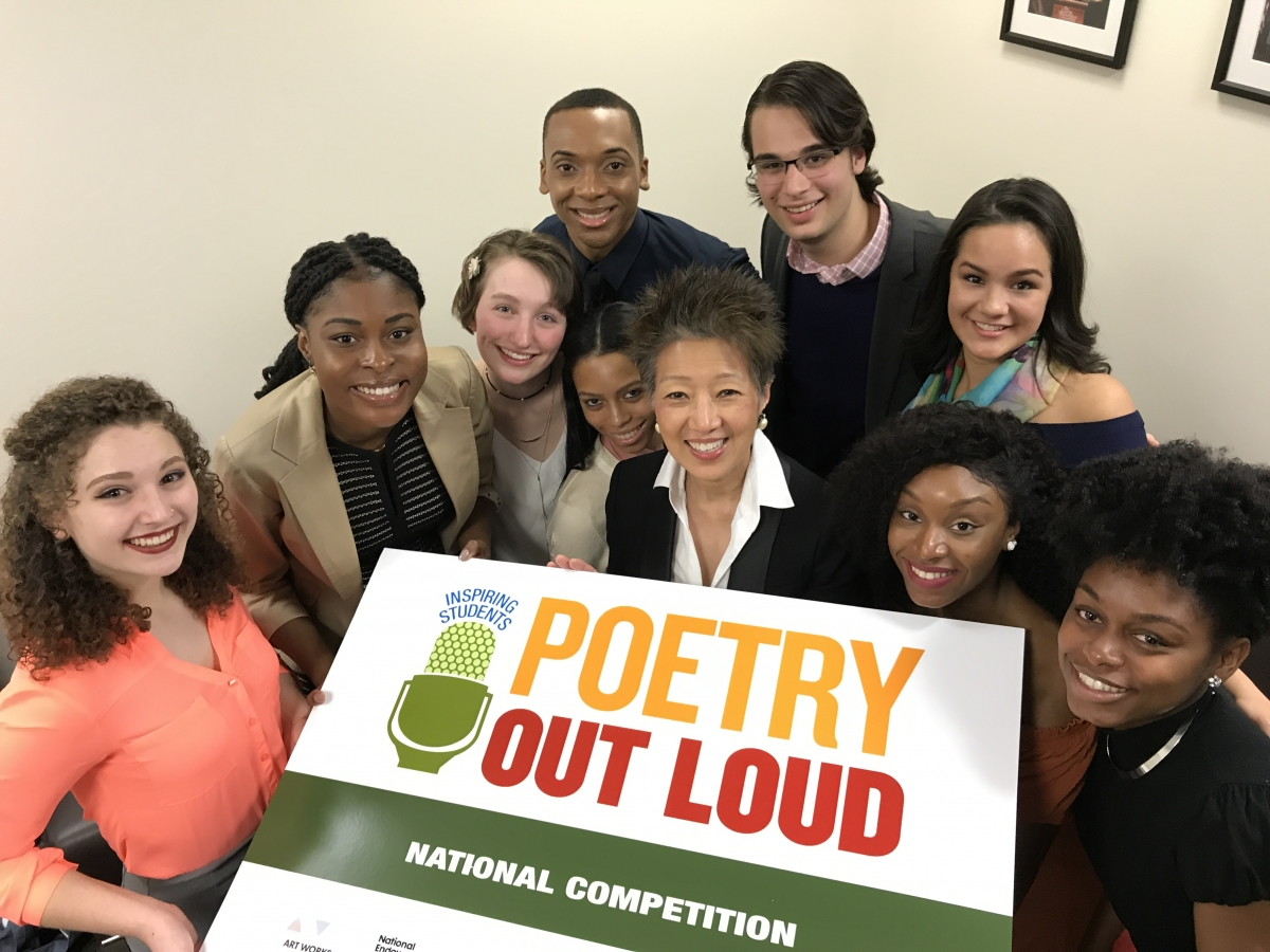 Poetry Out Loud finalists including Maddie Lukomski (far left) with NEA Chairman Jane Chu.