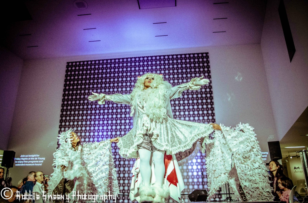 LOL McFiercen performing at the 2013 Tiara Sensation pageant at the de Young Museum. Photo by Robbie Sweeny Photography.