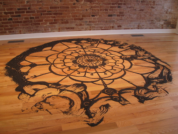 """Birdseed Doily"" by Jessica Witte. 9 feet, nyger seed. Good Citizen Gallery, St. Louis, 2009. Photo by Jessica Witte."