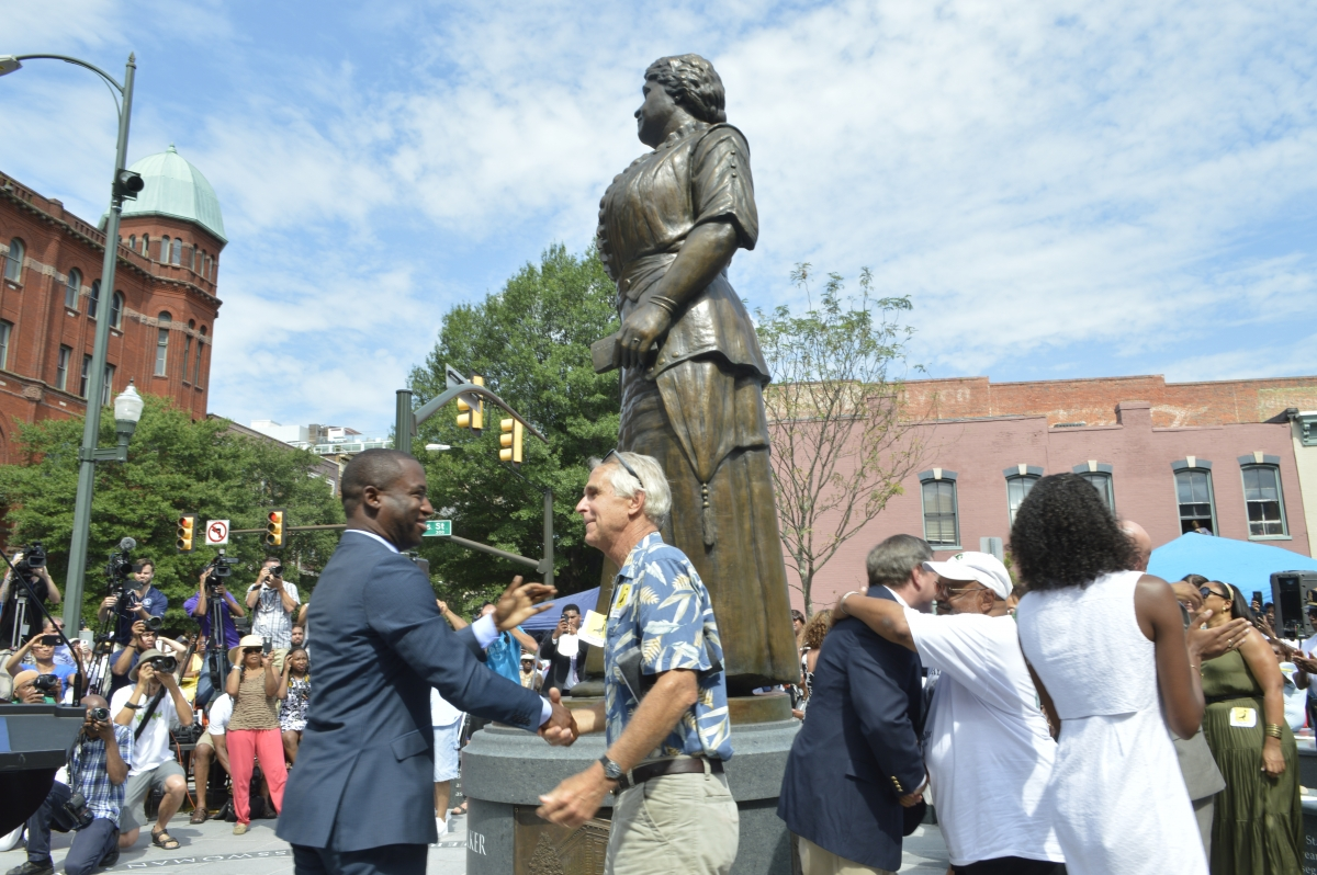 Richmond celebrates at the Maggie L. Walker monument unveiling. Photo by Amarise Carreras, Oakwood Arts.