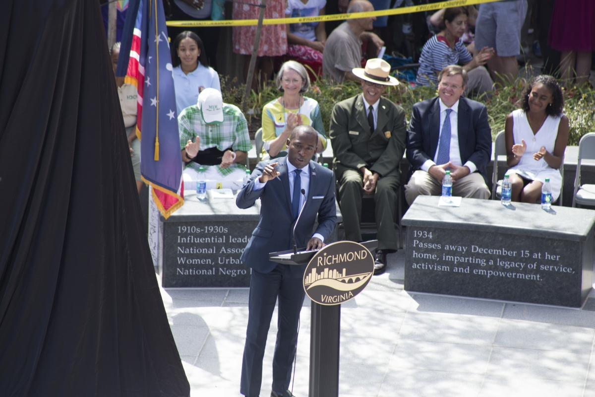 Richmond Mayor Levar Stoney speaks at the unveiling of the Maggie L. Walker monument. Photo by John DiJulio, Oakwood Arts.