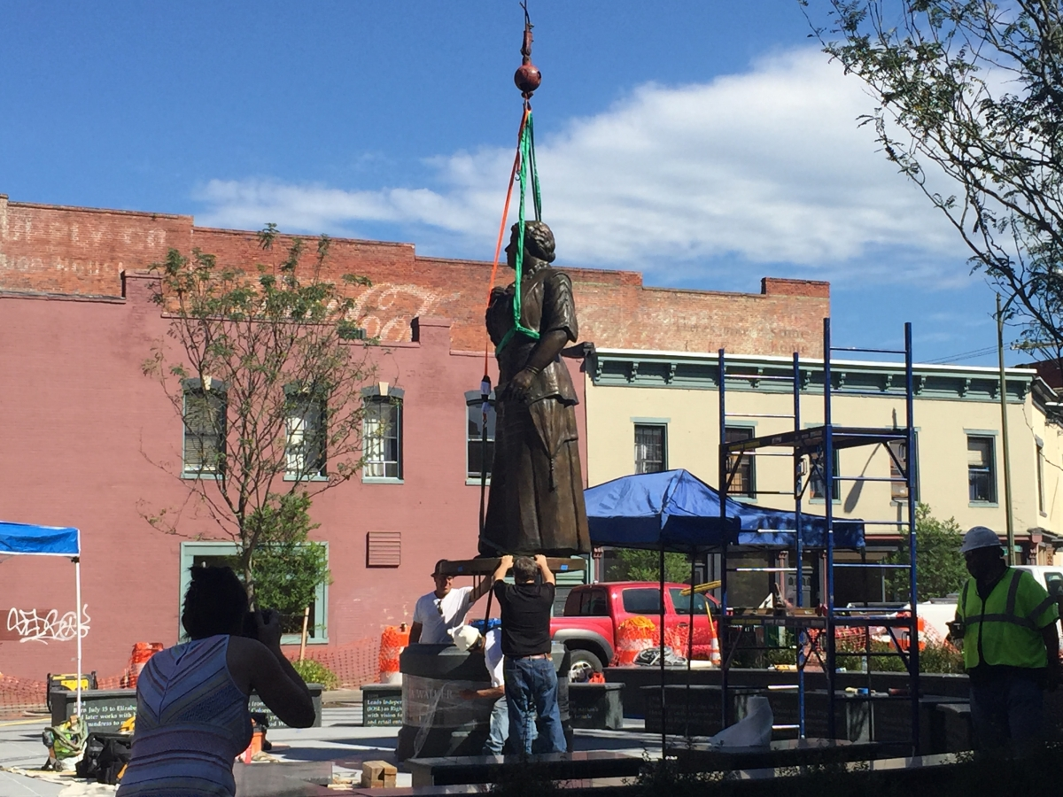 Installing the Maggie L. Walker monument. Photo by Ellyn Parker.