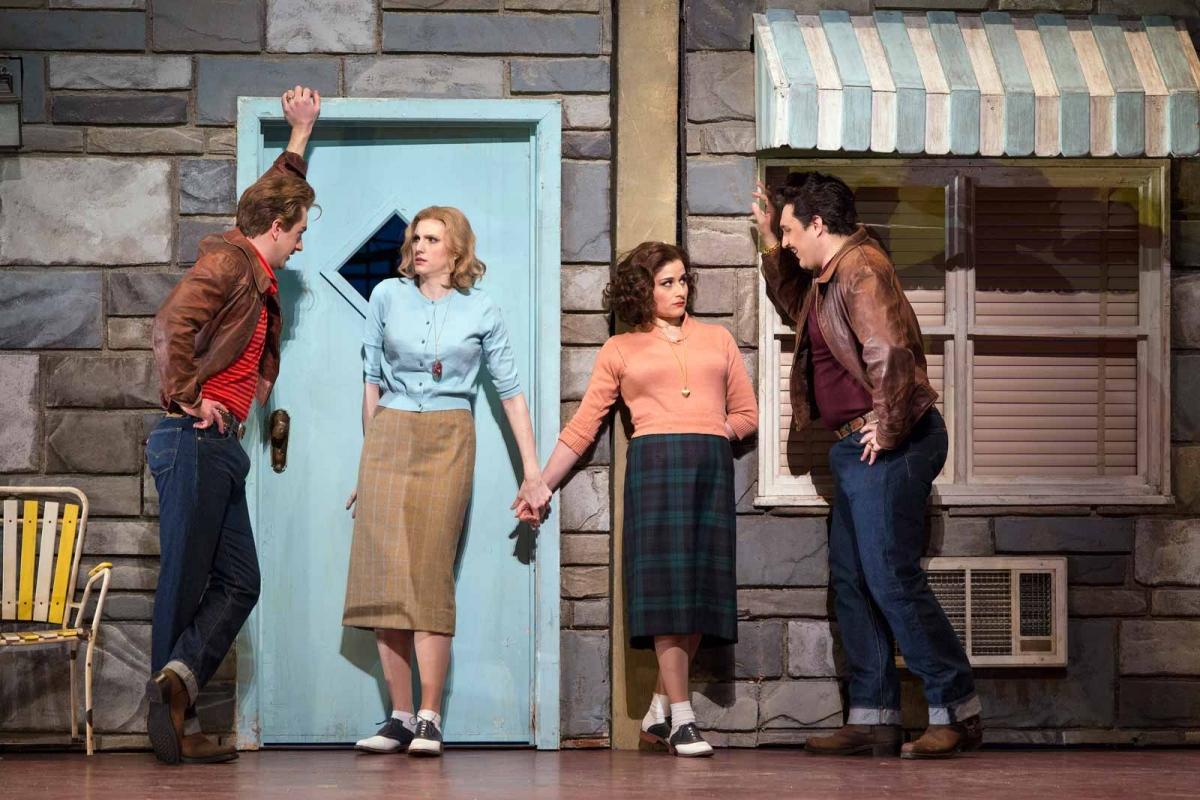 "Ben Bliss as Ferrando, Amanda Majeski as Fiordiligi, Serena Malfi as Dorabella, and Adam Plachetka as Guglielmo in Mozart's ""Così fan tutte,"" 2018. Photo by Marty Sohl."