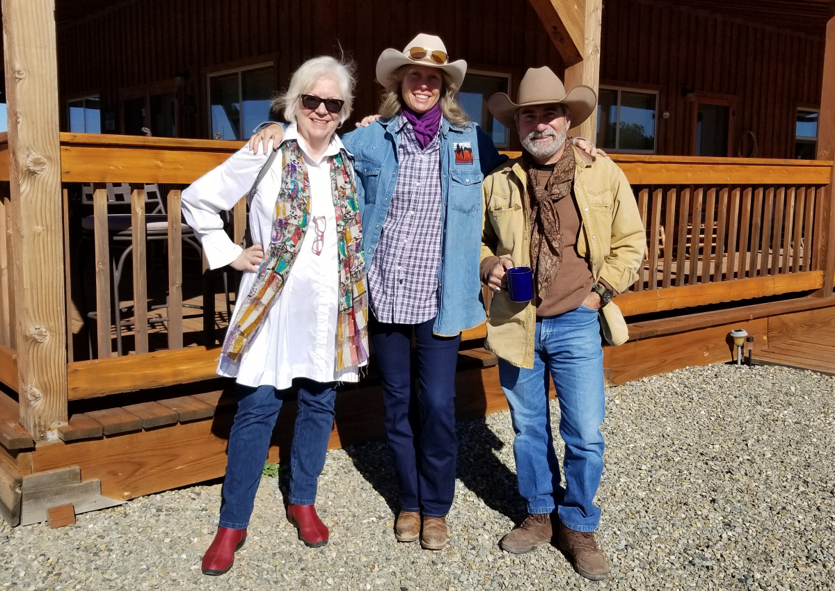 NMA program coordinator Phyllis Kennedy with Horses for Heroes: Cowboy Up! cofounders Rick Ianucci and Nancy De Santis at their Crossed Arrows Ranch outside Santa Fe, New Mexico. Photo by Susan M. Saloom/National Initiative for Arts & Health in the Military.