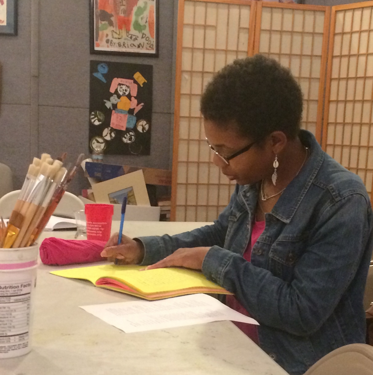 "Anisa Moyo in a writing class.  ""I recommend the writing course for any veteran seeking to explore a creative outlet in a comfortable, supportive setting. Thank you for offering this class to the veteran community!"""