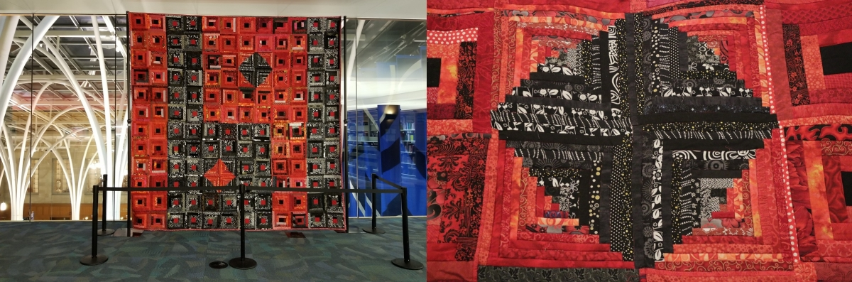 """Quilt II, RedRum Summer 1919"" examines the human connection and relationships, both public and private, between those involved in lynching and racial violence—the victims, spectators, witnesses and accomplices. Completed July 2014."