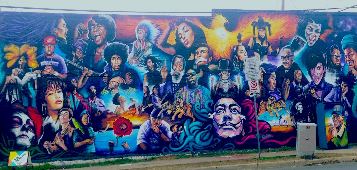 Mural reanimation project by Six Square – Austin's Black Cultural District. Art by Chris Rogers, photo by Sarah Rucker, 2018.
