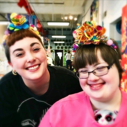 Program Director Nancy Epling and  Artist Tiffany Grubb wearing Tina's Tiaras with Mini Passion Flowers, 2018.