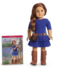 Saige Doll and Small Version of Book Front Cover