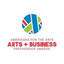 "Blue, green, and red strips of varying thickness form a circle over red text that reads ""Americans for the Arts Arts + Business Partnership Awards"""