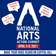 """It's the National Arts Action Summit logo (which resembles the letter A and the Capitol dome) surrounded by speech bubbles representing messages from arts advocates: """"Recovery Through Art!"""" """"Protect Creative Workers!"""" and """"Arts Education For All!"""""""